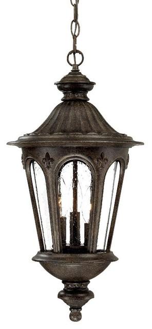 Three Light Black Coral Hanging Lantern