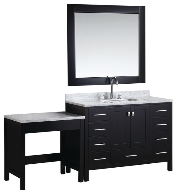 London 48 Single Sink Vanity Set With Make Up Table Espresso Transit