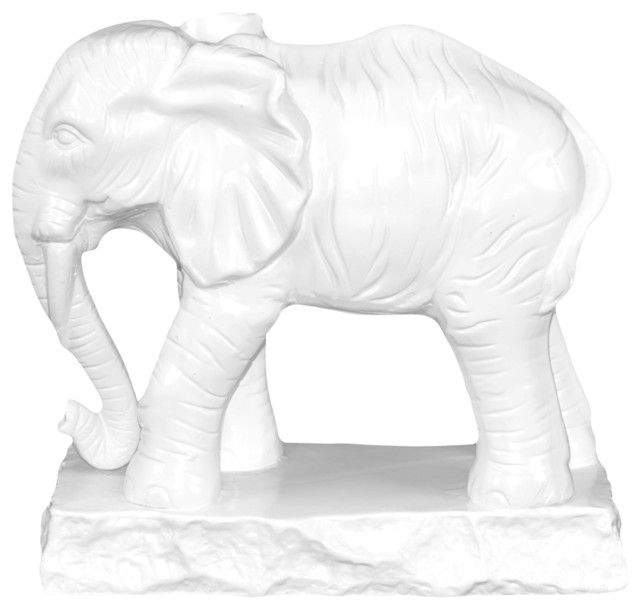 Ceramic Standing Elephant Figurine White Traditional
