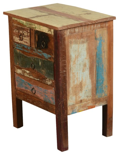 paint box rustic reclaimed wood end table with drawers