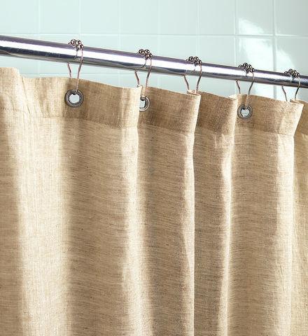 Organic Linen Shower Curtain Traditional Shower