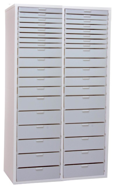 Double Wide Tall Kit X, White Cabinet With White Drawers - Contemporary - Storage Cabinets - by ...