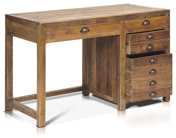 Working Desk With 4 Drawers In Reclaimed Wood Rustic