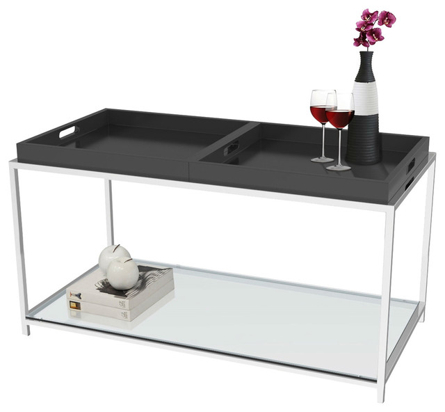 Modern glass top metal coffee table with black removable for Coffee table with removable glass top