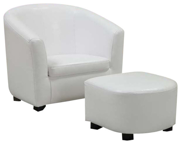 White Leather Look Juvenile Chair and Ottoman contemporary