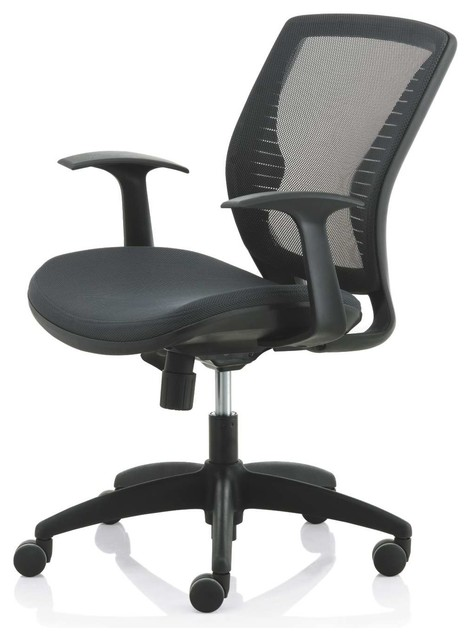 Mesh Desk Chair With Wheels And Adjustable Seat Height Black Modern Offi