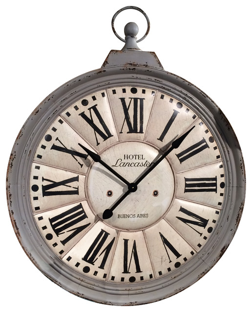 Lancaster Hanging Metal Clock Gray Farmhouse Wall Clocks by VIP Intern