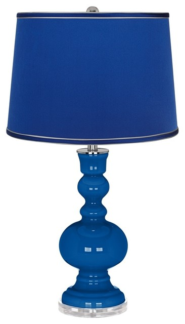 blue satin dark blue shade apothecary table lamp contemporary table. Black Bedroom Furniture Sets. Home Design Ideas