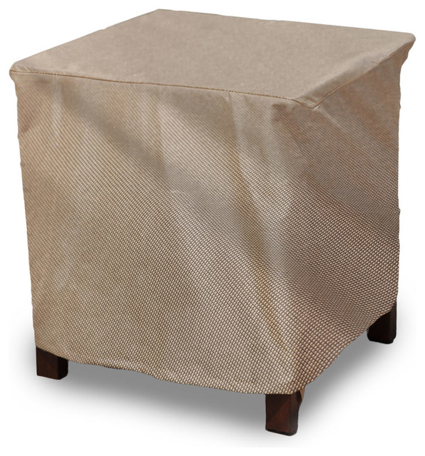 "EmpirePatio Signature Tan Tweed 26"" Square Outdoor Side Table Ottoman Co"