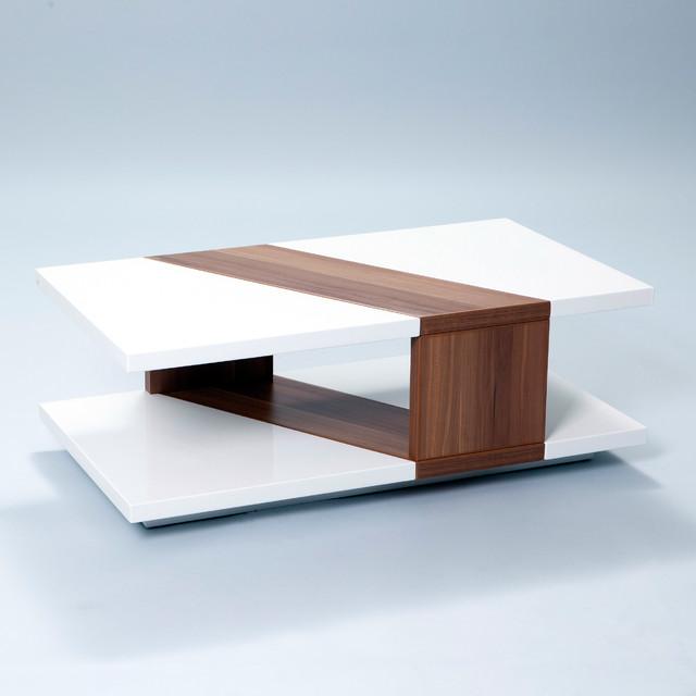 White Walnut Coffee Table: Bianca High-Gloss Walnut Rectangular Coffee Table
