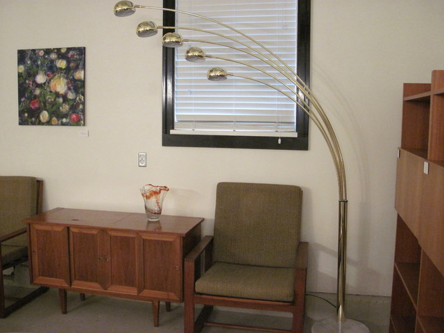 Vintage Brass Arc Lamp With Marble Base Modern Floor