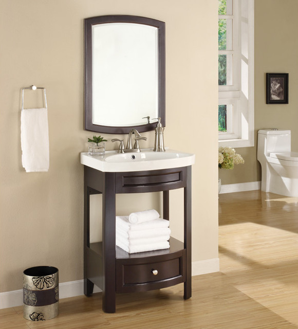 espresso sink and mirror vanity set contemporary
