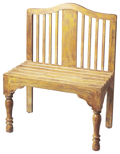Roseland Yellow Solid Wood Bench Traditional Accent Storage Benches By Beverly Stores
