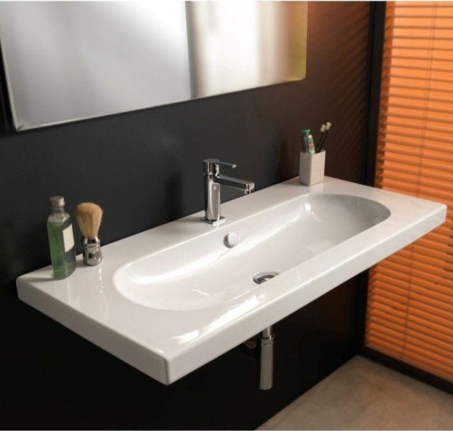 Elegant Bathroom Sinks: Elegant Wide Rectangular Wall Mounted, Vessel, Or Built-In