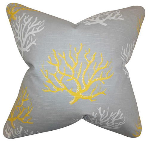 Yellow Decorative Pillows For Bed : Hafwen Yellow 18 x 18 Coastal Throw Pillow - Tropical - Bed Pillows