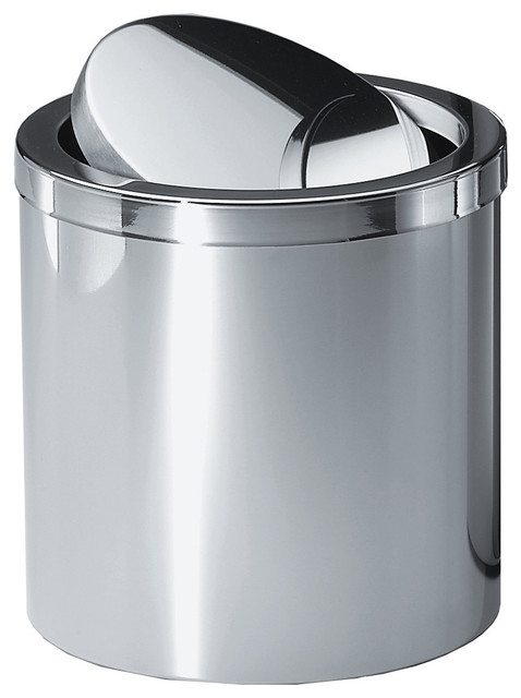 Dwba round stainless steel wastebasket trash can with swing lid chrome small contemporary for Bathroom wastebasket with lid