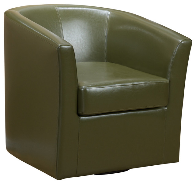 Corley Tea Green Leather Swivel Club Chair Contemporary