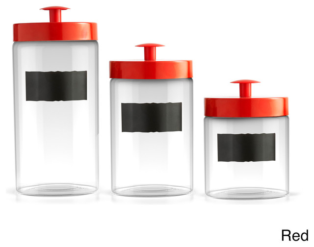 chalkboard 3 piece glass canister set contemporary village house cookie jar contemporary kitchen
