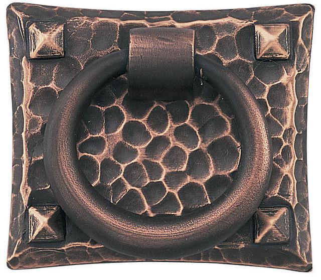 """Emtek 86040 Hammered 1-3/4"""" Solid Brass Arts & Crafts Ring Cabinet Drop Pull - Rustic - Cabinet ..."""
