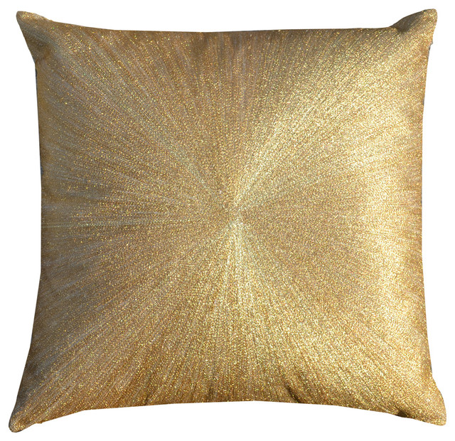 Modern Gold Pillows : Stone Linen Pillow With Zari Embroidery, Gold modern-decorative-pillows