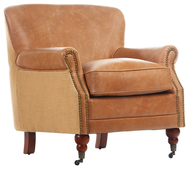 Antique Linen and Leather Occasional Chair - Traditional - Armchairs And Accent Chairs - by ...