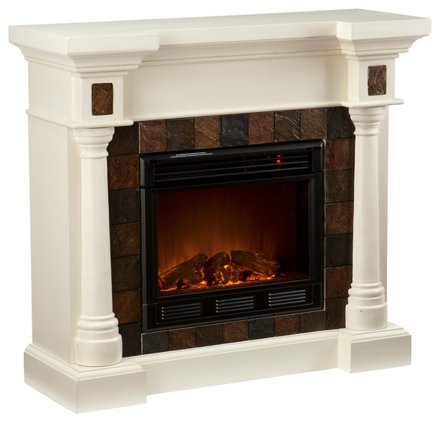 Weatherford Convertible Electric Fireplace Ivory Contemporary Indoor Fireplaces By Shop