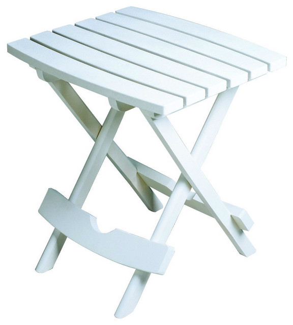 Outdoor Fast Folding Patio Side Table, White Weather Resistant Resin  Side T -> White Sand Outdoor Resin Table