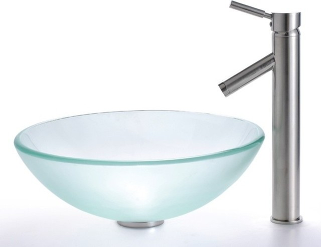 Frosted Glass Vessel Sink & Sheven Faucet (Satin Nickel) contemporary ...