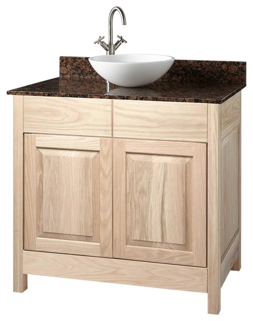 36 Unfinished Mission Hardwood Raised Panel Vessel Sink Vanity Transitional Bathroom