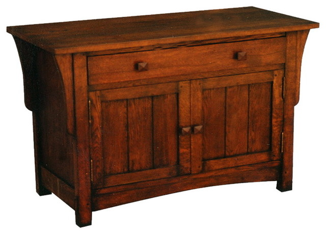 Arts and crafts mission oak sideboard or entry way cabinet for Sideboard glasfront