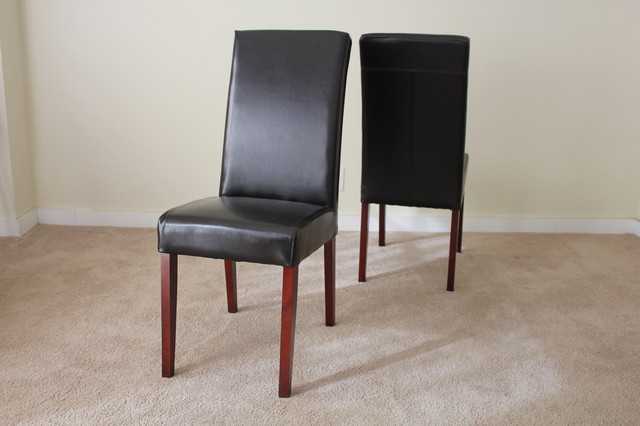 Java leather parsons dining chair contemporary dining for Leather parsons dining chair