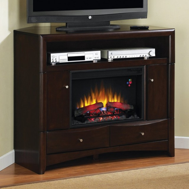 Classic flame delray media wall corner electric fireplace for Indoor corner fireplace