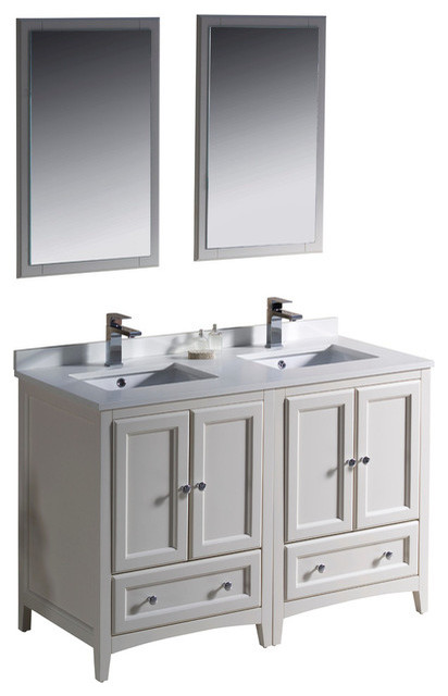 48 Inch Double Sink Bathroom Vanity In Antique White Antique White Traditi