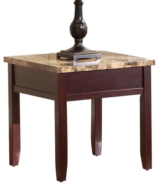 Homelegance Orton Faux Marble Top End Table in Rich Cherry  : traditional side tables and end tables from www.houzz.com size 546 x 640 jpeg 50kB