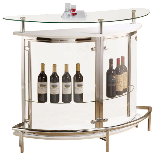 Modern White Clear Front Glass Top Wine Stemware Rack Bar