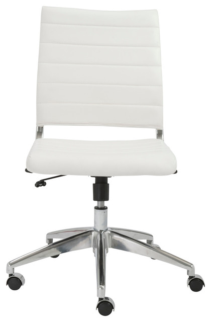 Eurostyle axel low back armless office chair in white and aluminum contemporary office - Armless office chairs uk ...