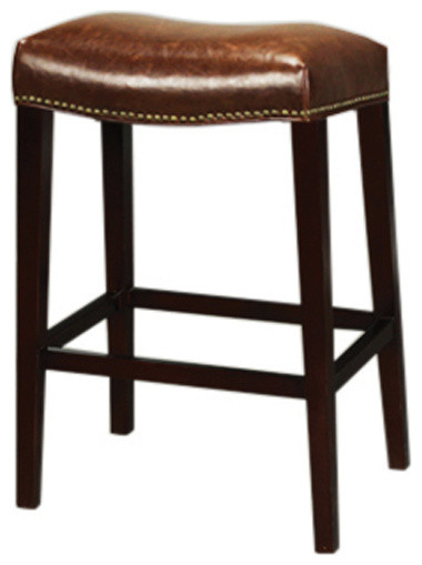 Leather Saddle Bar Side Stool Traditional Bar Stools