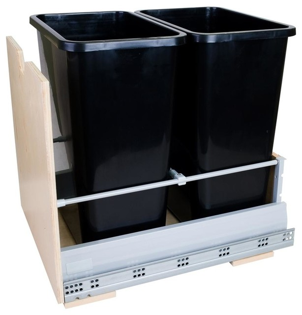 35 quart double pull out waste container system contemporary trash cans by shopladder. Black Bedroom Furniture Sets. Home Design Ideas