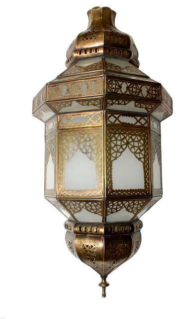 Tall Moroccan Brass Wall Sconce with White Glass - Mediterranean - Outdoor Wall Lights And ...