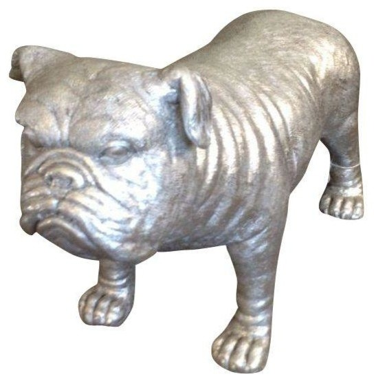 Pre-owned Metallic Resin Bulldog Statue - Traditional - Decorative Objects And Figurines