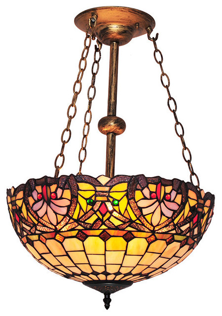 Tiffany Style Grids And Waves Pattern Stained Glass Chandelier