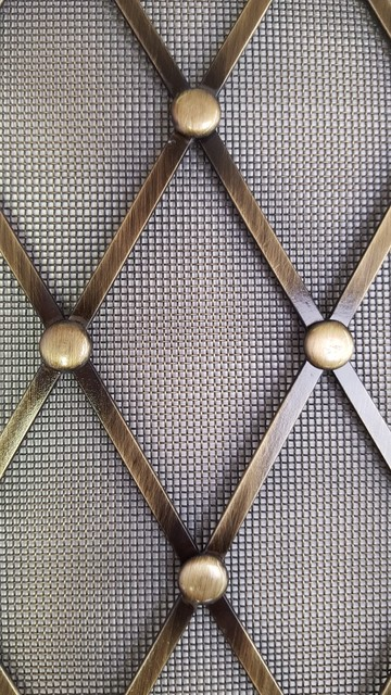 Brass Wire Grille : Custom formed style wire grille with rosettes and