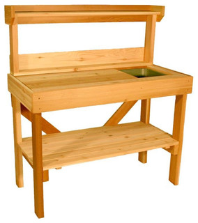 Cedar Wood Potting Bench with Sink - Traditional - Potting Benches - by Benches
