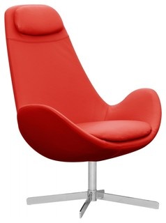 Loungesessel houston semianilinleder rot hoch modern armchairs and