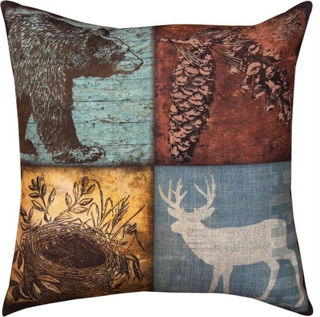 Decorative Outdoor Fall Pillows : Pair of Cabin Sweet Cabin Deer/Bear Print In/Outdoor Decorative Throw Pillows - Rustic - Outdoor ...