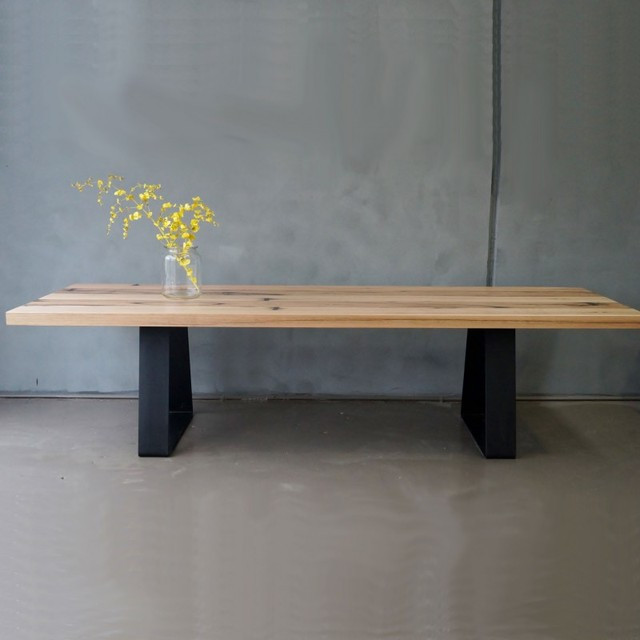 solid recycled reclaimed timber dining table