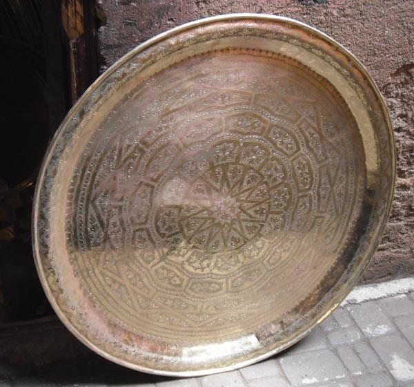 Large Vintage Moroccan Brass Tea Table