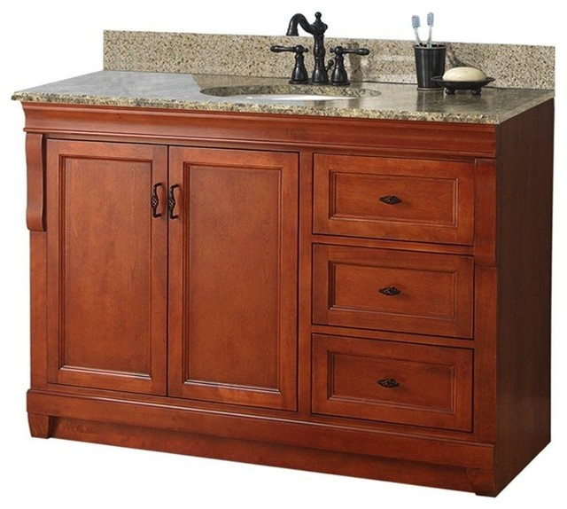 Naples vanity with right drawers warm cinnamon with for Bathroom cabinets naples fl