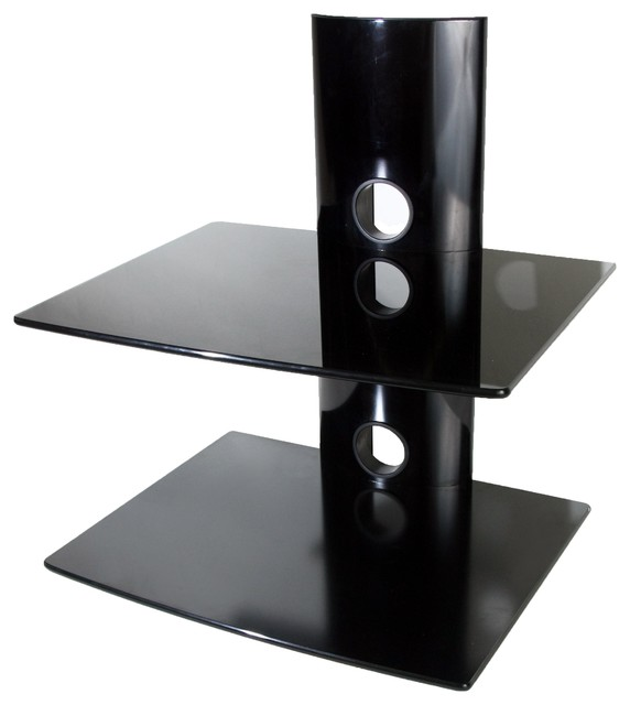 MI-SHL-02 Dual Glass DVD/DVR/Component Wall Mount Shelf ...