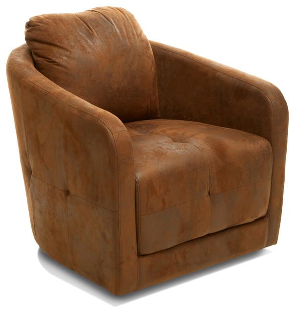 Bernhoft swivel fabric armchair brown modern armchairs for Modern swivel accent chair